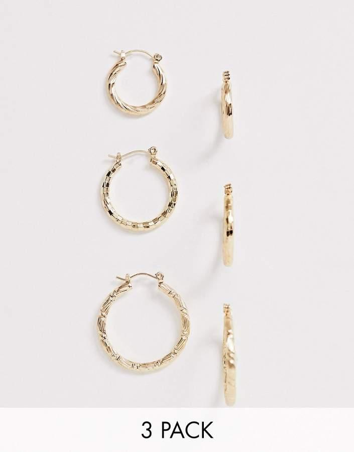 31655fa2dd92c Design DESIGN pack of 3 twist hoop earrings in gold tone