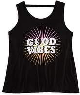 Flowers by Zoe Girls' Good Vibes Back Cutout Tank - Big Kid