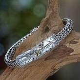 Men's citrine braided bracelet, 'Meditate'