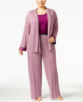 Oscar de la Renta Plus Size 3 Piece Knit Pajama Set