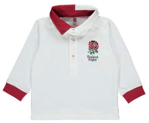 George England Rugby White Long Sleeve Polo Shirt