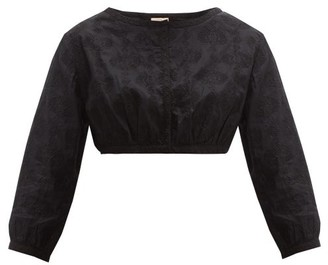 Le Sirenuse, Positano - Jinny Embroidered-cotton Crop Top - Black