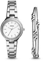 Fossil Blane Three-Hand Stainless Steel Watch and Jewelry Gift Set