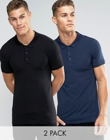 Asos 2 Pack Extreme Muscle Jersey Polo Shirt In Navy/Black