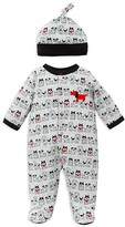 Offspring Infant Boys' Puppy Print Footie & Hat Set - Sizes Newborn-9 Months