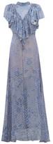 Preen by Thornton Bregazzi Lyla Graphic-print Ruffled Devore Maxi Dress - Womens - Blue