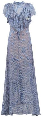 Preen by Thornton Bregazzi Lyla Graphic Print Ruffled Devore Maxi Dress - Womens - Blue