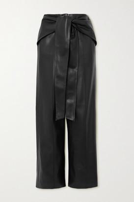 ALEKSANDRE AKHALKATSISHVILI Belted Faux Leather Wide-leg Pants - Black