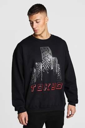 boohoo Oversized City Foil Print Sweatshirt