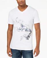 INC International Concepts Men's Smoke Skull Graphic V-Neck T-Shirt, Created for Macy's