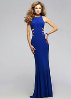 Faviana Embellished Jersey Long Evening Gown with Side Cut-outs 7820