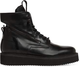Bruno Bordese ZIPPED LEATHER LACE UP BOOTS