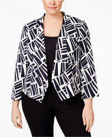 Nine West Plus Size Printed Open-Front Jacket