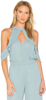 Krisa Ruffle Halter Top in Blue. - size L (also in M,S,XS)
