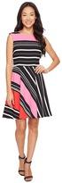 Tahari by Arthur S. Levine Petite Crepe Multi Stripe A-Line Dress