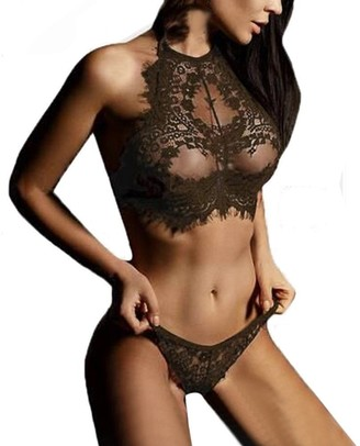 HOOUDO Women Sexy Lingerie Lace Flowers Solid Push Up Top Bra Pants Babydoll G String Thong Sleepwear Erotic Underwear Set(S