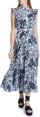Erdem Floral Print Pleated Midi Dress