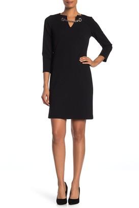 Modern American Designer Chain Accent Long Sleeve Sheath Dress