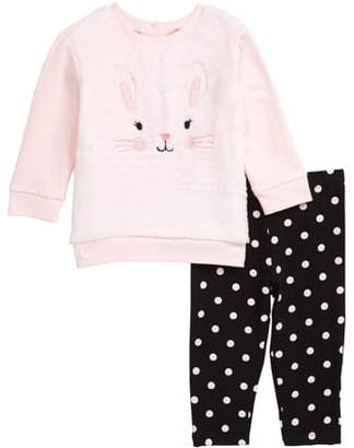 Little Me Rabbit Embroidered Sweatshirt & Leggings Set
