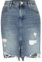River Island Womens Mid blue wash ripped denim midi skirt