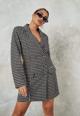 Missguided Petite Black Houndstooth Tailored Blazer Dress