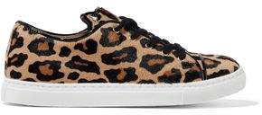 Charlotte Olympia Leather-trimmed Leopard-print Calf Hair Sneakers