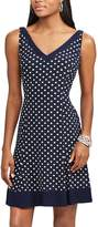 Chaps Petite Polka-Dot Fit & Flare Dress