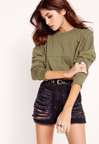 Missguided Cropped Panel Sweatshirt Khaki