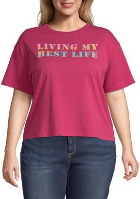 Fifth Sun Juniors Plus Womens Crew Neck Short Sleeve Graphic T-Shirt