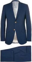 Gucci Navy Slim-fit Checked Seersucker Suit