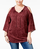 Style&Co. Style & Co. Plus Size Paisley-Print Cold-Shoulder Peasant Top, Only at Macy's