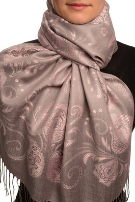 Lisskiss Pearls & Paisleys On Pink & Grey Pashmina Feel With Tassels - Pink Pashmina Floral Scarf