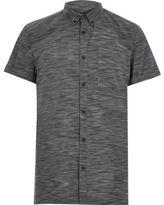 River Island MensNavy space dye short sleeve t-shirt
