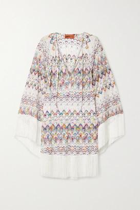Missoni Mare Fringed Metallic Crochet-knit Kaftan - White