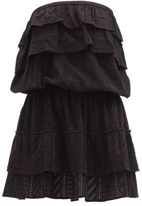 Melissa Odabash Mia Ruffled Strapless Cotton Sun Dress - Black