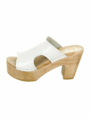 NO.6 STORE Patent Leather Cutout Accent Slides White