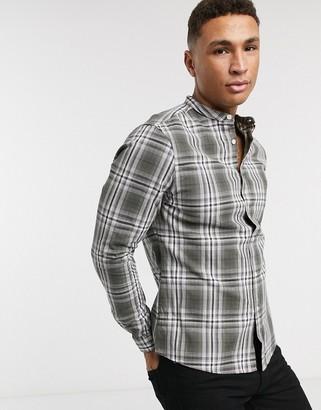 Asos DESIGN slim fit check shirt with grandad collar in khaki