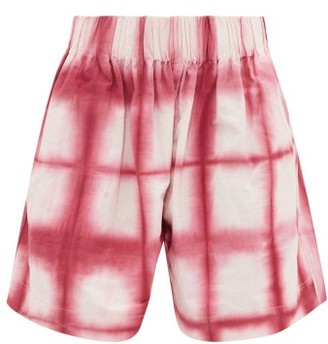 Story mfg. Moon Clamp Tie-dyed Organic-cotton Shorts - Pink White
