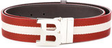 Bally letter buckle striped belt - men - Cotton/Leather - 85