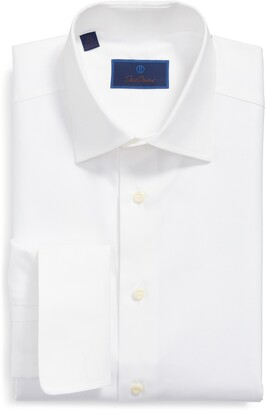 David Donahue Regular Fit Texture French Cuff Cotton Dress Shirt