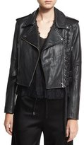 McQ Leather Moto Lace-Up Jacket, Black