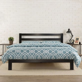 Overstock King size Heavy Duty Metal Platform Bed Frame with Headboard and Wood Slats
