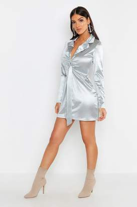 boohoo Satin Tie Front Detail Shift Dress