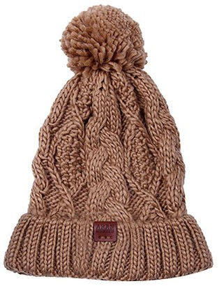 Aran Traditions Aran Workshop Warm Winter Sand Brown Diamond Cable Bobble Beanie Hat