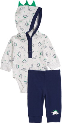 Little Me Dino Hooded Bodysuit & Pants Set