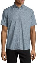 Etro Paisley-Print Short-Sleeve Sport Shirt, Navy/White