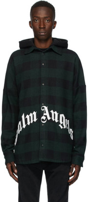 Palm Angels Green and Black Hooded Overshirt