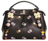Fendi Mini Peekaboo Floral Applique Leather Satchel - Black