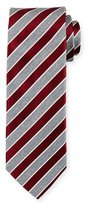 Eton Repp Stripe Silk Tie, Dark Red