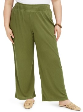 Full Circle Trends Trendy Plus Size Smocked Wide-Leg Pants